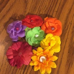 Multicolor set of floral hair clips